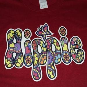 Hippie design womens tshirt. Medium
